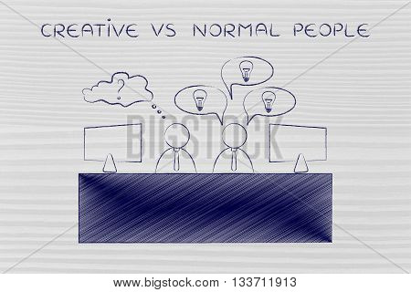 Worker With Plenty Of Ideas And Doubtful One, Creative Vs Normal People