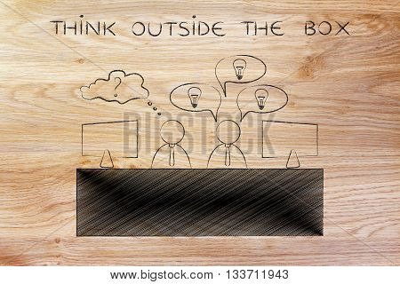 Worker With Plenty Of Ideas And Doubtful One, Think Outside The Box