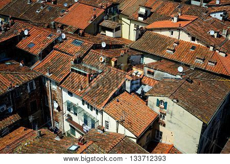 Amazing scenic view at rooftops of Lucca from Torre dell Orologio Lucca Tuscany Italy.