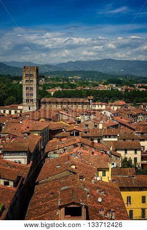 Amazing scenic view of Lucca and Basilica di San Frediano from Torre dell Orologio Lucca Tuscany Italy.