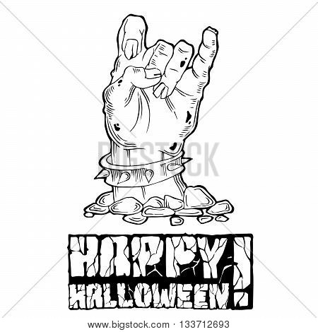 Card for Halloween with zombie hand and stone text. Black and white