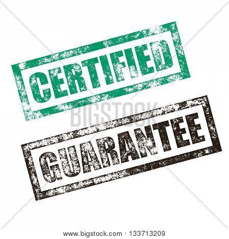Certified stamp of green grunge square vintage rubber print. Guarantee stamp seal. Black ink vector deal offer imprint.