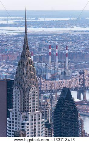 New York City - April of 2015, Manhattan, USA: Chrysler building, aerial view