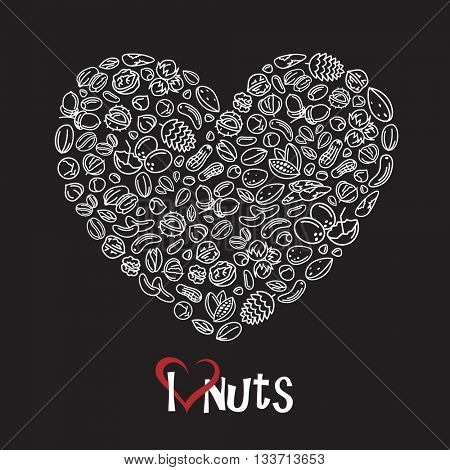 illustration of nuts icon as heart on black background