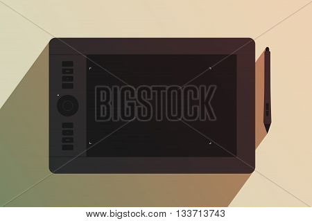 Black graphic tablet and stylus nearby. Tool for creativity. Modern device for graphic design. Tinting effect