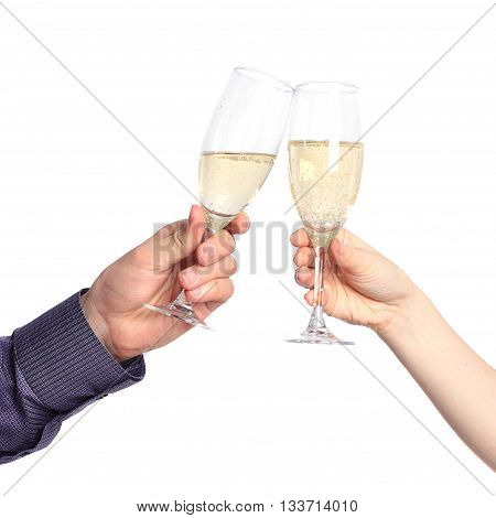 Two hands with glasses of champagne isolated on a white background