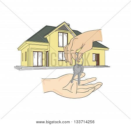 Real estate agent with house and keys