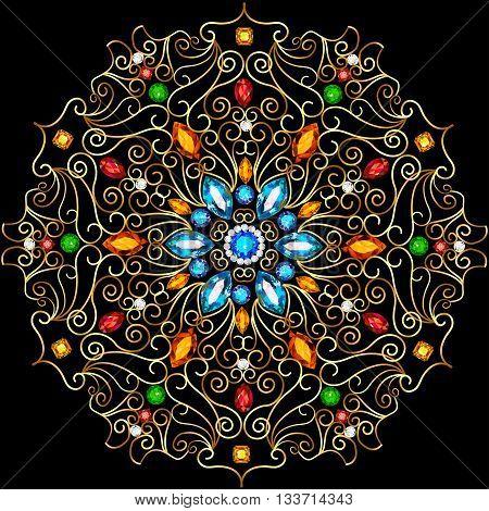 Illustration background circular ornaments of precious stones