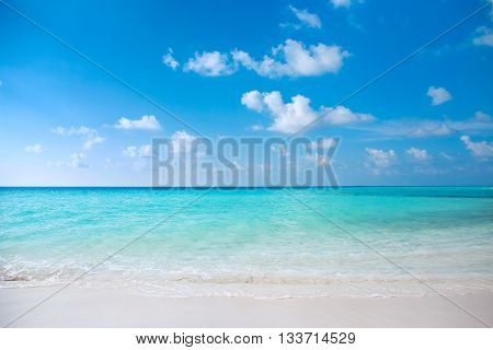 Crystal Clear Turquoise Water At Tropical Maldivian Beach