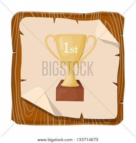 Icon of champion trophy cup victory success concept win leadership vector illustration in trendy colors