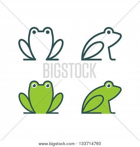 Minimalistic stylized catroon frog logo. Line icon and colored version front view and profile. Simple frog or toad vector illustration set.
