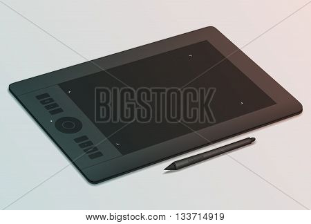 Realistic black graphic tablet and stylus nearby. Tool for creativity. Modern device for graphic design. Tinting effect