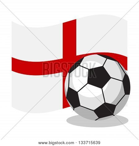 Football or soccer ball with english flag on white background. World cup. Cartoon ball. Concept of championship, league, team sport. Game for kids and adults. Cheering and sport fans concept.
