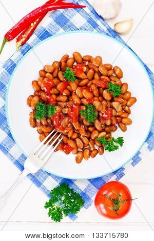Baked Beans with Tomato Paste and Parsley Studio Photo