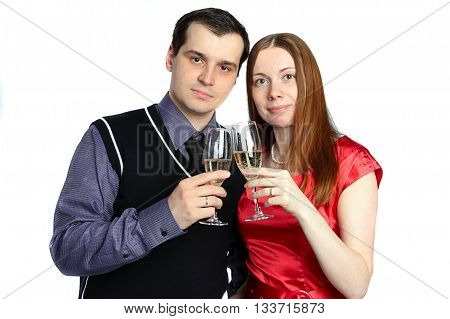 Couple. Man and a woman with glass of champagne. Isolated on white