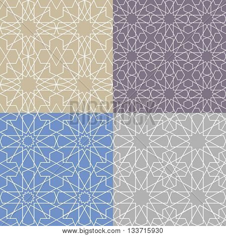 Seamless pattern.Vector abstract background.Arabic islamic motif, Geometrical ornament.Vector muslim, traditional mosaic backdrop.Vintage wallpaper, religious linear texture, polygon template set