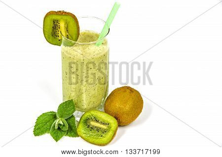 Tasty fruit drink with kiwi kefir and mint in a glass tube on a white background