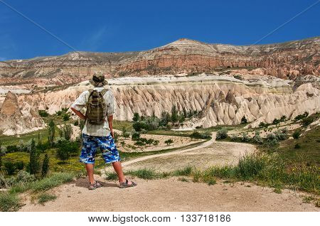 lonely traveler looking into the Cappadocia Central Anatolia Turkey