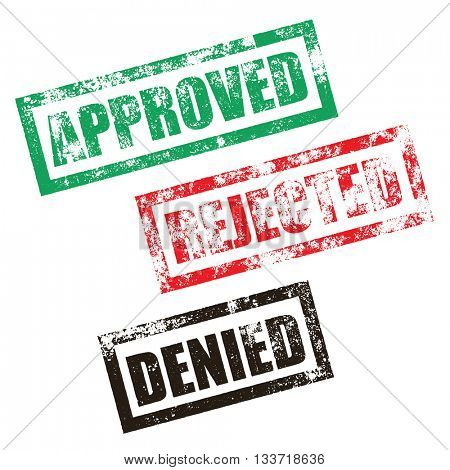 Approved stamp of green grunge square vintage rubber print. Rejected red stamp seal. Denied black ink vector imprint.