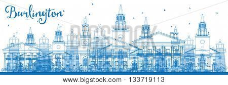 Outline Burlington (Vermont) City Skyline with Blue Buildings. Business and tourism concept with historic buildings. Image for presentation, banner, placard or web site
