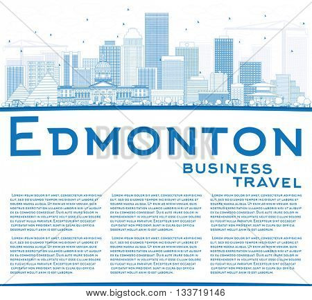 Outline Edmonton Skyline with Blue Buildings and Copy Space. Business Travel and Tourism Concept with Modern Buildings. Image for Presentation Banner Placard and Web Site.