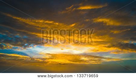 Colorful Sky with clouds for background to use in graphics, poster, banner