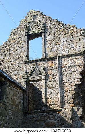 A view of the architectural detail on the masonry of Aberdour castle