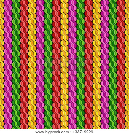 Seamless geometric pattern made from colored intertwined stripes