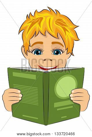surprised little boy reading interesting book isolated over white background