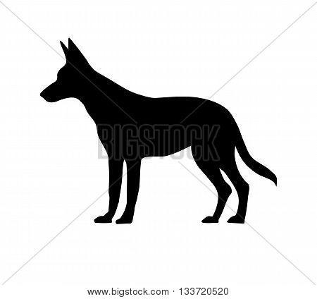 Dog silhouette on white background - vector illustration.