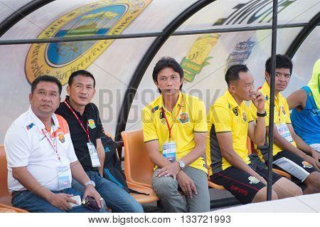 Prachuapkirikan Thailand-mar9,2016:dusit Chaleamsean[c] Head Coach Of Prachuap Fc  In Action During