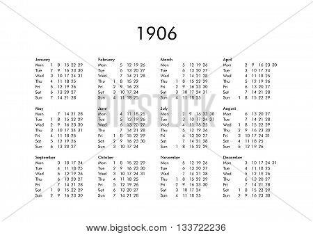 Calendar Of Year 1906
