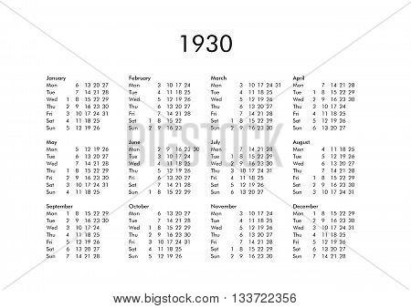 Calendar Of Year 1930