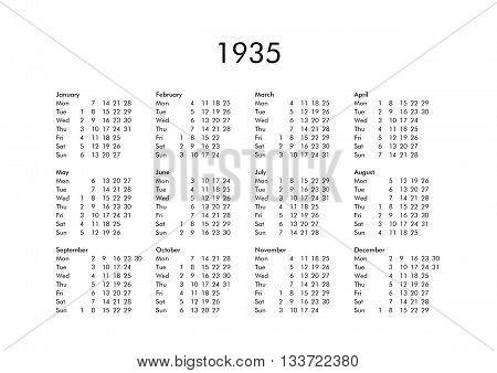 Calendar Of Year 1935