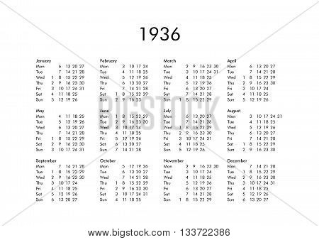 Calendar Of Year 1936
