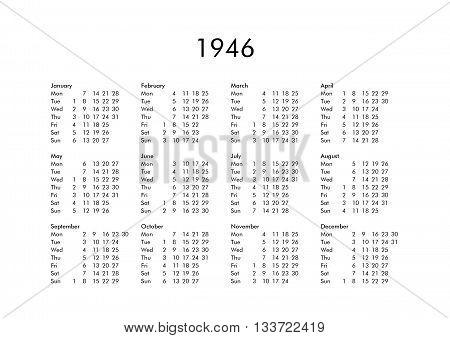 Calendar Of Year 1946