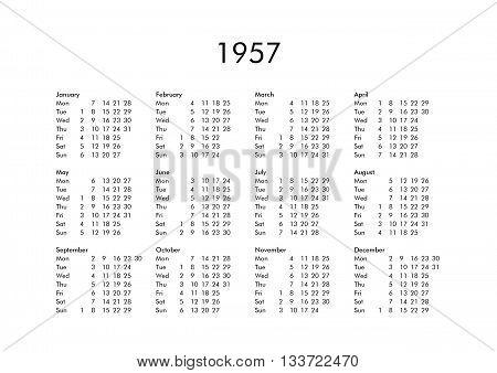 Calendar Of Year 1957