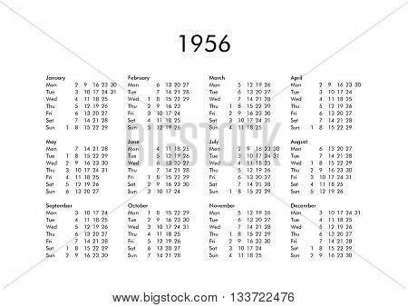 Calendar Of Year 1956
