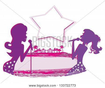 Karaoke night abstract illustration with microphone and singer , vector ilustrator
