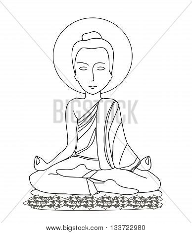 Buddhist monk meditation on white background , doodle illustration