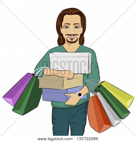 Handsome man carrying stacks of boxes and shopping bags on white background