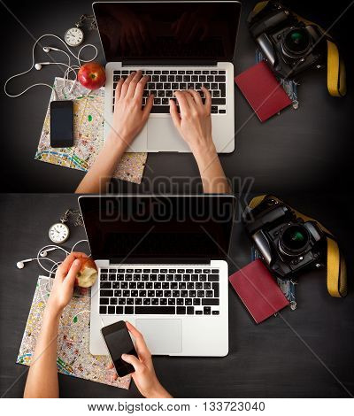 Female photographer sitting on the desk with laptop. Set