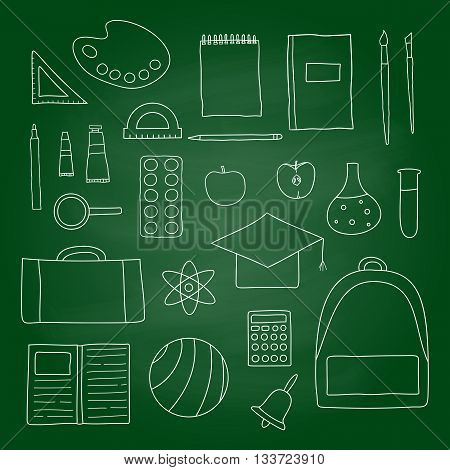 Hand drawn outline school and university icons on green blackboard. Paints palette apple ruler backpack ball pen notebook bell brushes loupe protractor calculator mortar board.