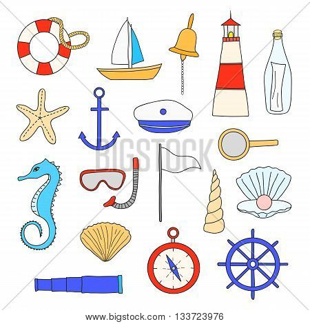 Hand drawn nautical items isolated on white background. Sailboat lighthouse anchor shell starfish compass spyglass wheel lifebuoy loupe pearl snorkel mask seahorse bottle sailor suite.