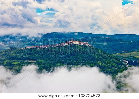 Motovun town in clouds view Istria Croatia