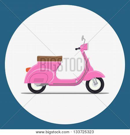 Pinc Moped Flat vector illustration. retro design