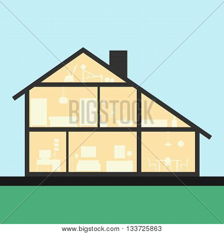House inside. Detailed modern house interior in cut. Flat style Graphic illustration. Rooms with furniture and object.