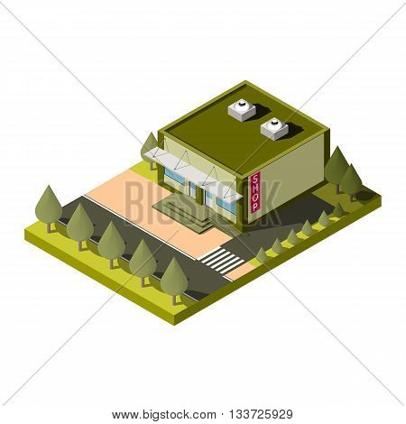 Isolated isometric shop building icon. Graphic illustration