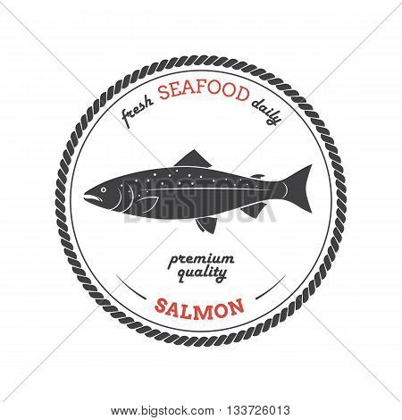 Vector salmon silhouette. Salmon label. Template for stores markets food packaging. Seafood illustration.