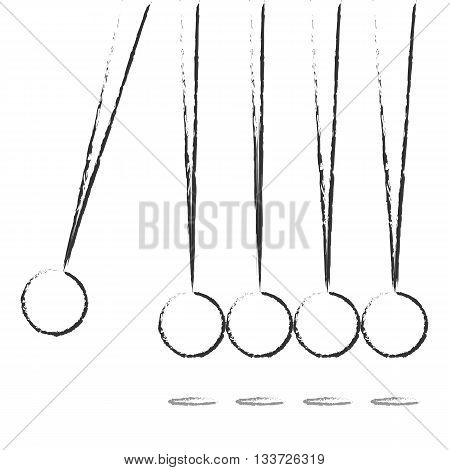 Flat Design balancing balls Newton's Cradle. Graphic illustration